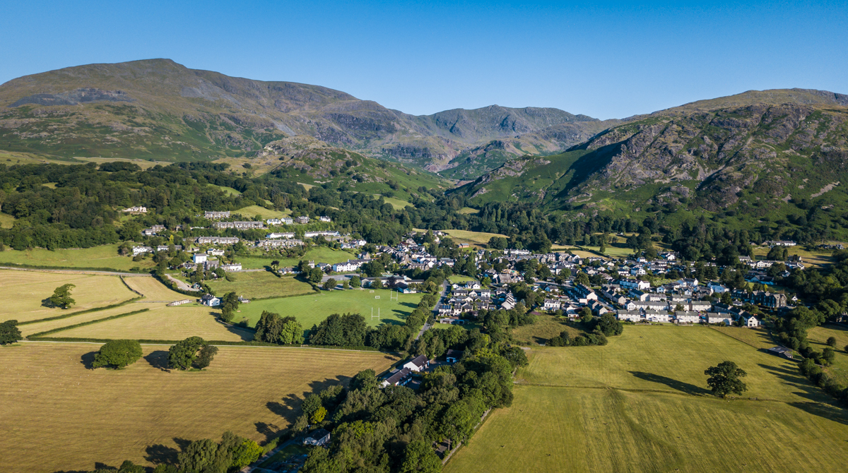 Coniston village aerial 1
