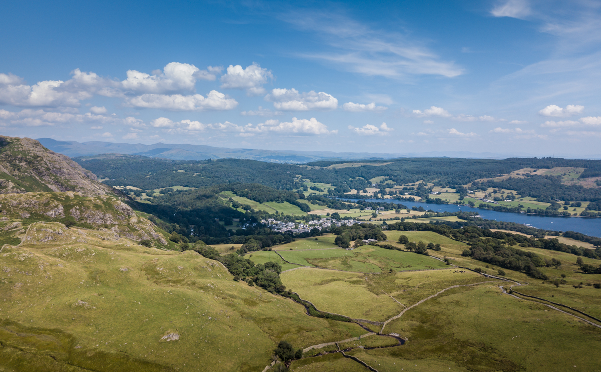 Lake Coniston and village aerial view